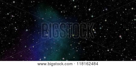 Dark night sky full of stars. The nebula in outer space.