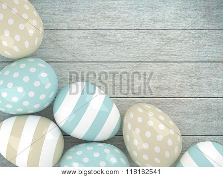 3D Easter Glossy Eggs  Lying On Rustic Table