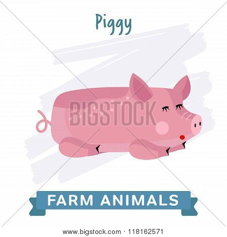 Pig vector illustration. Cartoon pig characters. Isolated pig on white background. Funny pig. Farm animal.