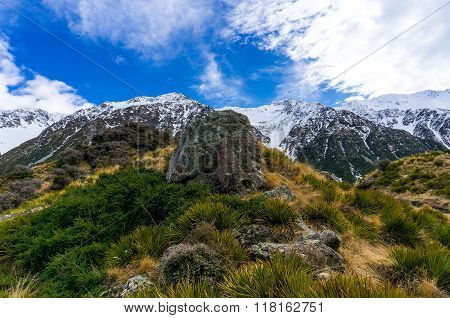 Winter Mountain Landscape With Snow And Green Grass