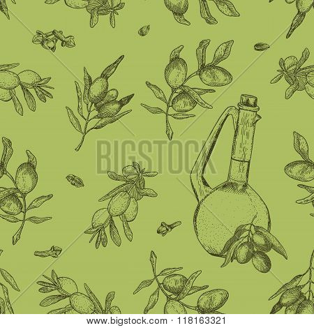 Seamless olive oil pattern