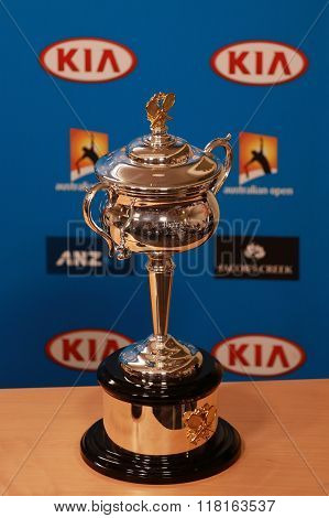 Daphne Akhurst Memorial Cup presented during press conference women final at Australian Open 2016