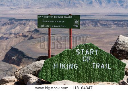 Start Hiking Trail Into The Fish River Canyon In Namibia, Africa