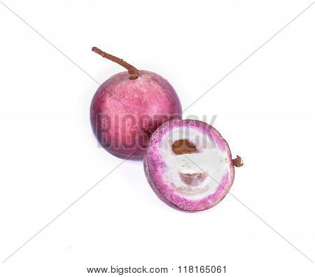 Purple Star Apple Fruit With Half Isolated On White Background