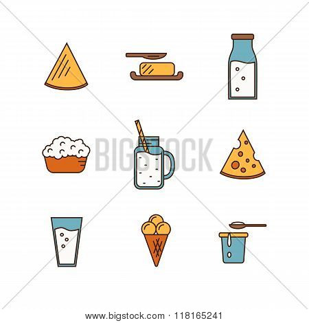 Dairy icon set in line style design.