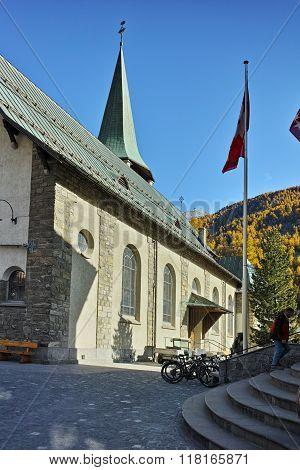Old church in Zermatt Resort, Canton of Valais, Switzerland