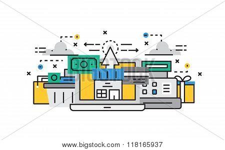 Flat line design vector illustration concept of E-Commerce, Online Shopping, Buy Online, Online Paym
