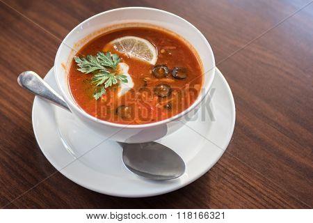 Traditional russian soljanka