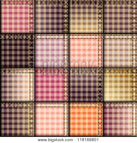 Pink plaid patchwork background