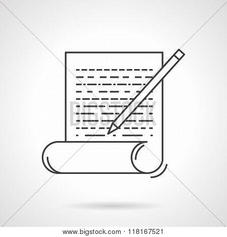 Copywriting flat line vector icon