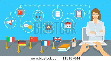 Online Internet Language Courses Flat Vector Infographic Element