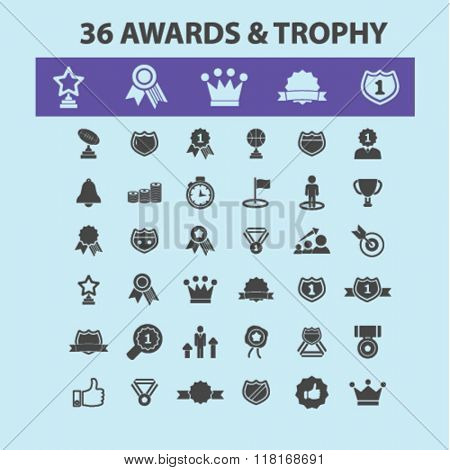 awards icons, award concept, award trophy, achievement, award ribbon, trophy, prize icons