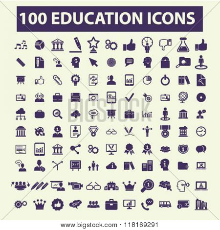 Education icons, education concept, education logo, education background, education icon, learning vector, study, science, research concept set