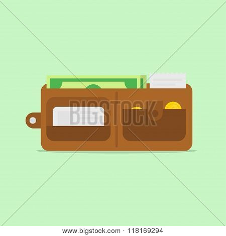 Wallet Open Vector Illustration