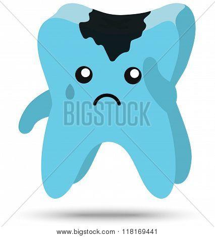 Cute sad tooth with cavity