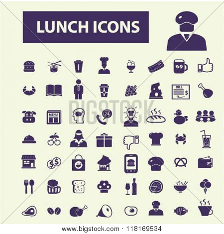 Lunch icons, restaurant icons, lunch concept