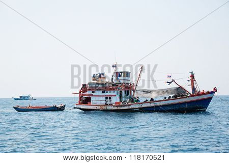 Fishing vessels at the island in the Andaman Sea, coast Thailand