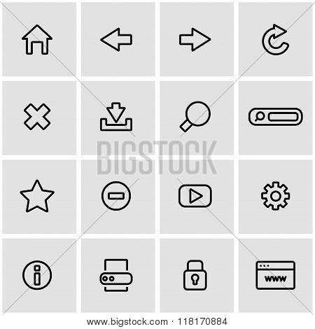 Vector Line Browser Icon Set