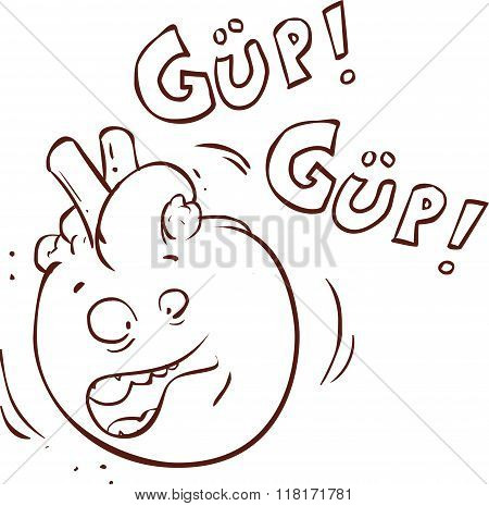 White Background vector Illustration Of A  Heart Cartoon Character