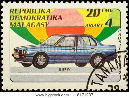 Car Bmw On Postage Stamp
