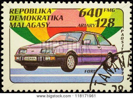 Car Ford Sierra On Postage Stamp
