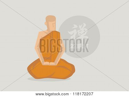 Buddhist Monk Zen Meditation Vector Illustration