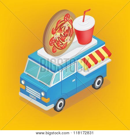 Isometric Food Truck With Pizza And Soda
