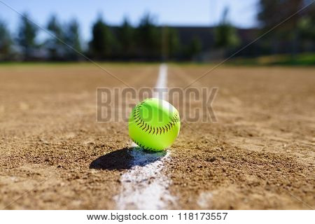 Softball In A Softball Field In California Mountains