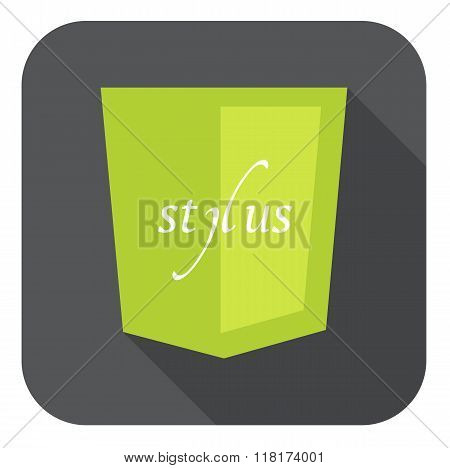 vector illustration of light green shield with css stylus, isolated web site development icon on whi