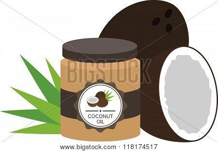 Coconut oil jar isolated