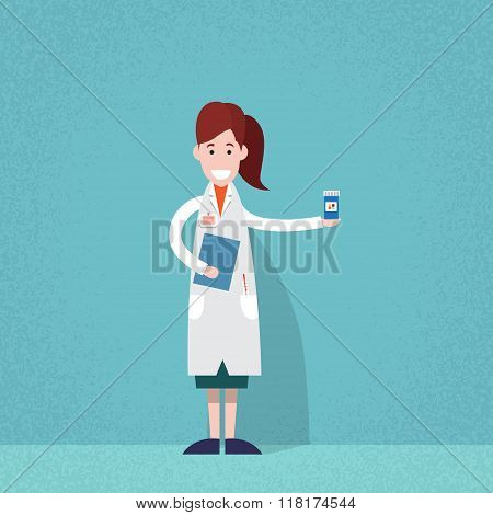 Professional Medical Doctor Woman Pharmacist Hold Pills