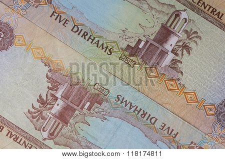 Detail of Arab Emirates Dirham banknotes on the table