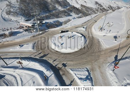 Roundabout in winter