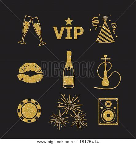 A Collection Of Sparkling Gold Glitter Stylized Fancy Night Club And Party Icons For Flier, Banner,