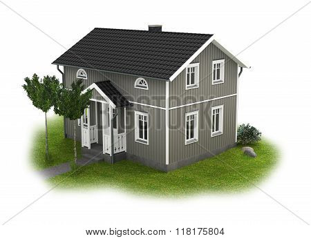 gray wooden cottage with garden detail