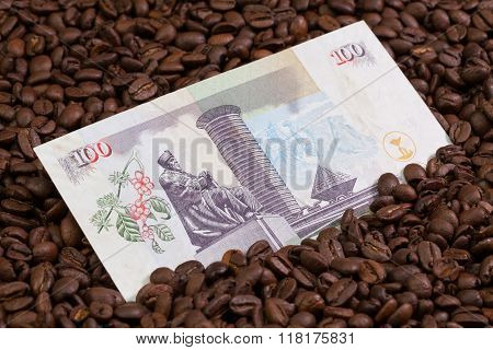 Coffee beans and Kenya shilling banknote on the table