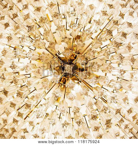 Close-up of a beautiful crystal chandelier for background