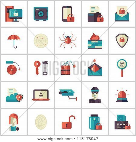 Security, protection modern flat design icons and pictograms