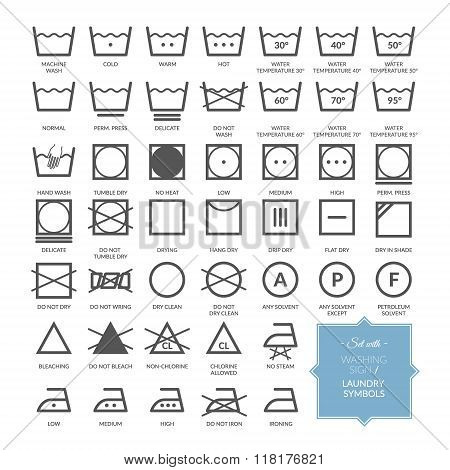 Washing Icons And Laundry Symbols