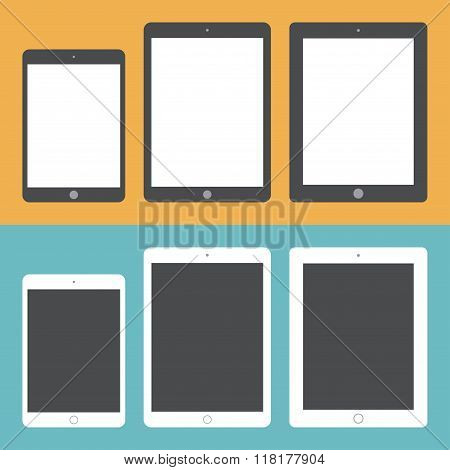 Tablet Icons Set In The Style Flat Design On The Background Different Colors. Stock Vector Illustrat