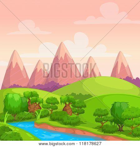 Cute bright vector sunny day landscape