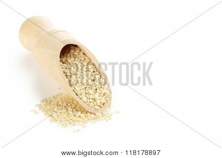 Sesame Seeds With Scoop Isolated On A White