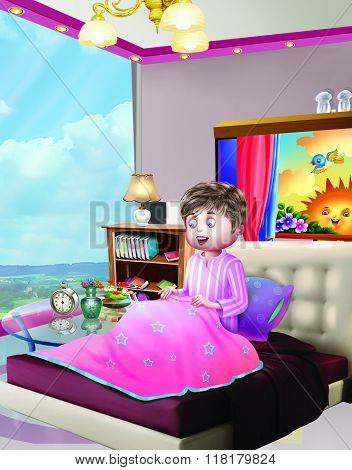 Story-Early to Bed /In this poem the boy is saying that early to bed and early rise makes the person healthy wealthy and wise.