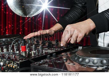DJ at nightclub party