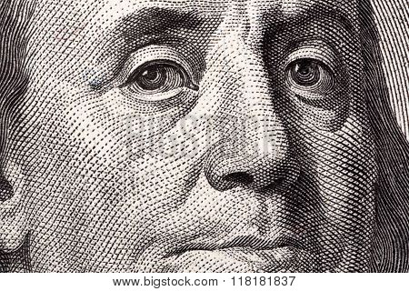 Benjamin Franklin, a close-up portrait