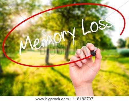 Man Hand Writing Memory Loss With Black Marker On Visual Screen