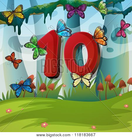 Number ten with 10 butterflies in garden illustration