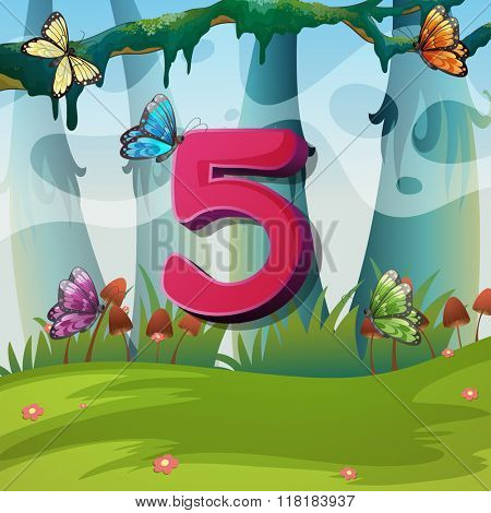 Number five with 5 butterflies in garden illustration
