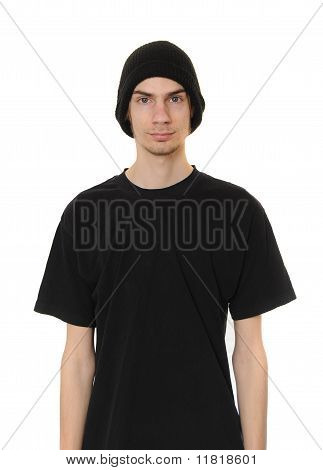 White Dude Wearing Black Beanie Hat