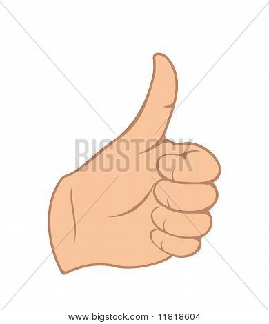 Hand Gesture With Thumb Up Isolated On White